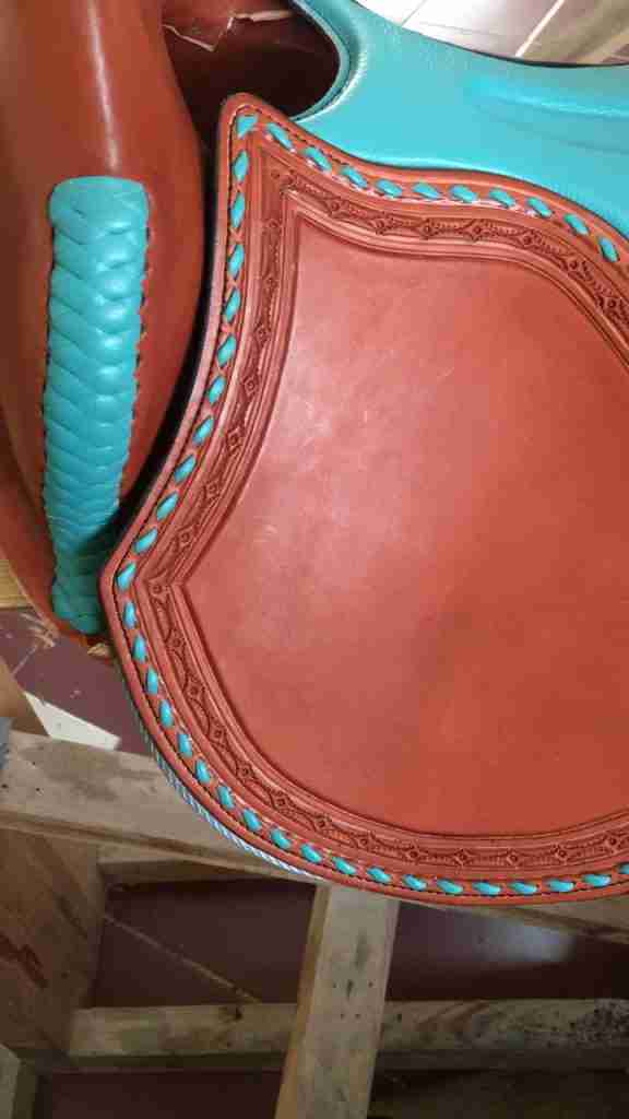 front saddle teal tooled